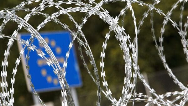 Ostnatý drát, hranice mezi Slovinskem a Maďarskem - Sputnik Česká republika