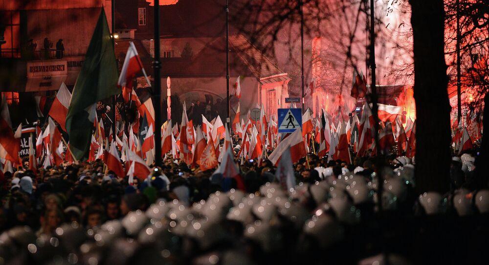 Demonstrace neonacistů ve Varšavě. Ilustrační foto