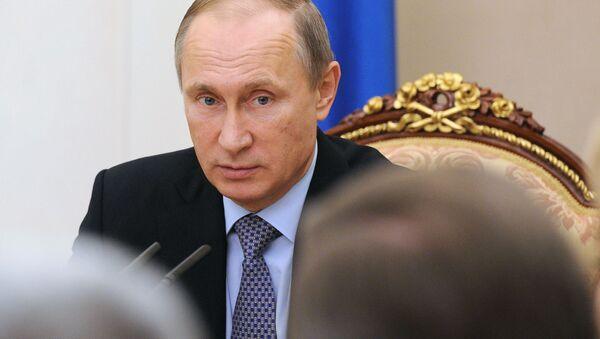Vladimir Putin během zasedání Rady Federace - Sputnik Česká republika