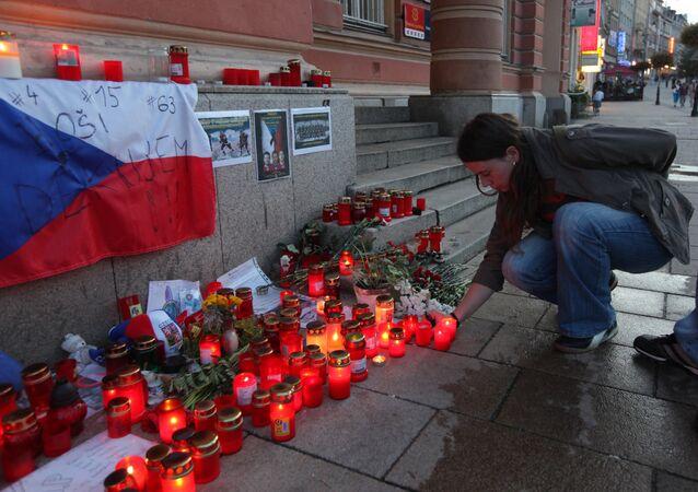 Akce paměti zahynulých hokejistů týmu Lokomotiv Jaroslavl při letecké havárii
