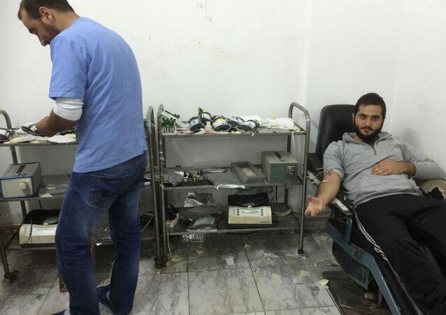 Transfuzní stanice v Sýrii