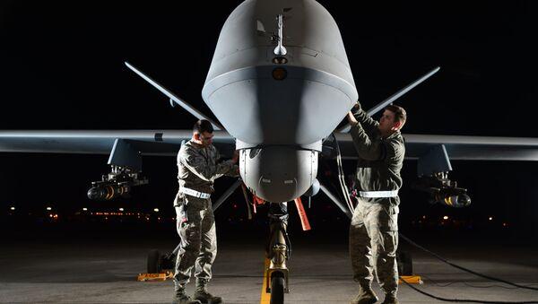 Americký dron MQ-9 Reaper během přípravy ke startu na misi. Ilustrační foto - Sputnik Česká republika