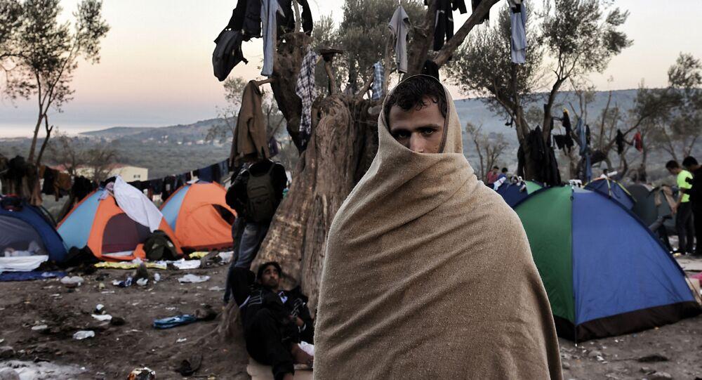 Uprchlík na řeckém ostrově Lesbos.