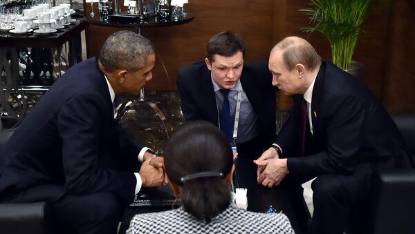 Ruský prezident Vladimír Putin a jeho americký kolega Barack Obama zdůraznili na jednáních v Antaly v rámci summitu G20 nutnost politické transformace v Sýrii - Sputnik Česká republika