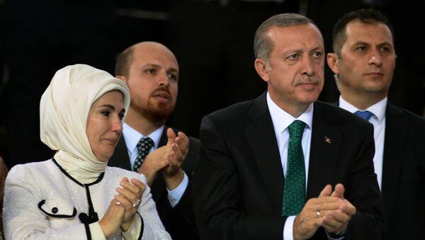Recep Tayyip Erdogan, jeho žena a syn - Sputnik Česká republika