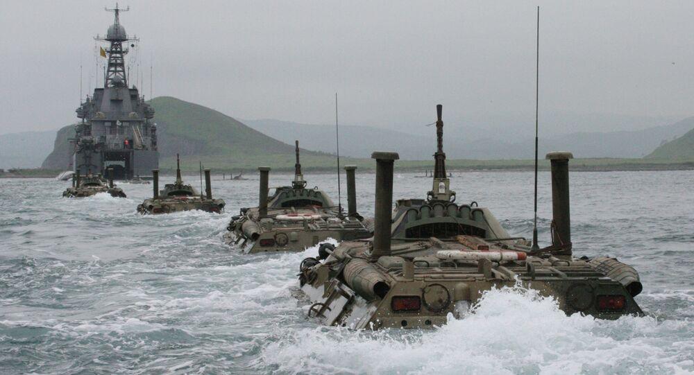 Námořní pěchota se účastní tažení lodí Vojenské flotily RF a mezinárodních cvičení