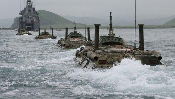 Námořní pěchota se účastní tažení lodí Vojenské flotily RF a mezinárodních cvičení - Sputnik Česká republika