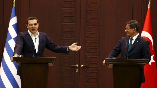 Alexis Tsipras a Ahmet Davutoglu - Sputnik Česká republika