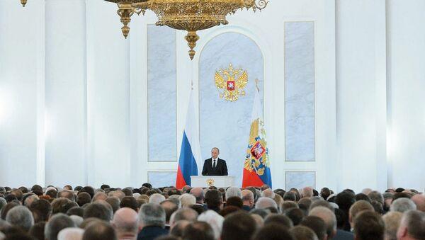 Ruský prezident Vladimir Putin se obrací na Federální shromáždění - Sputnik Česká republika
