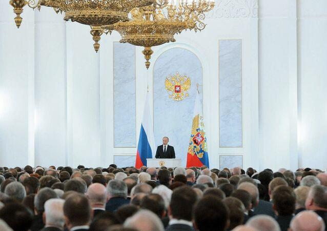 Ruský prezident Vladimir Putin se obrací na Federální shromáždění