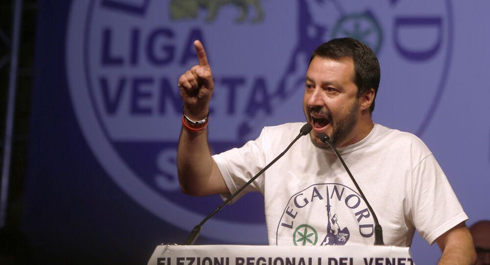 Předseda italské opoziční strany Liga Severu Matteo Salvini