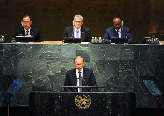 Vladimir Putin během Valného shromáždění OSN