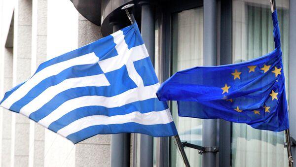 Vlajka Řecka a EU - Sputnik Česká republika
