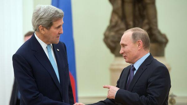 John Kerry a Vladimir Putin - Sputnik Česká republika