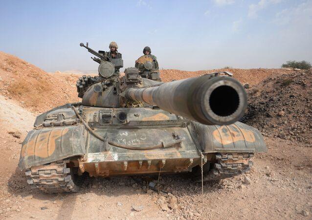 Tank T-55 v Sýrii. Ilustrační foto