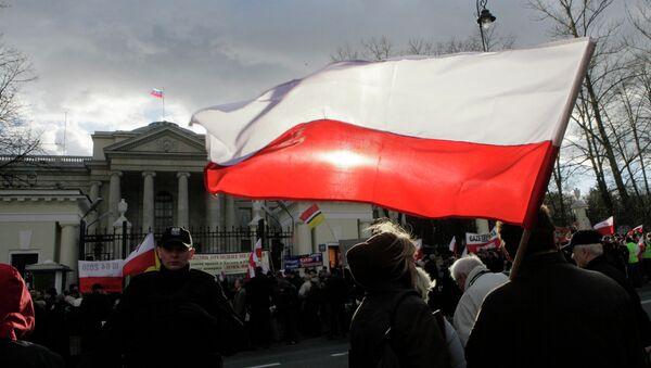 Demonstranti před budovou velvyslanectví Ruska - Sputnik Česká republika
