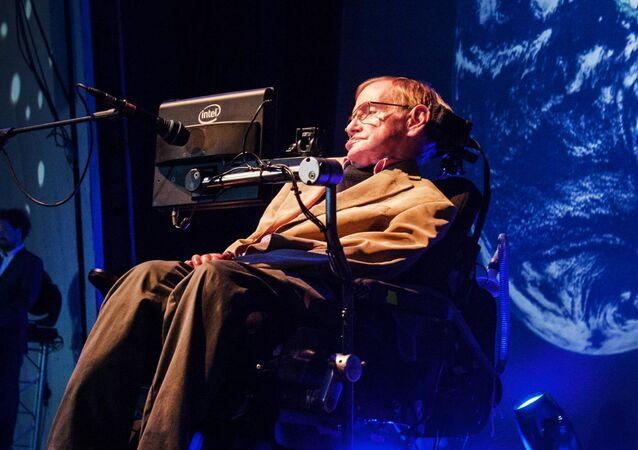 Stephen Hawking  během prezentace
