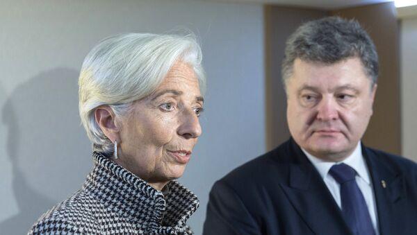 Petro Porošenko a Christine Lagardeová - Sputnik Česká republika
