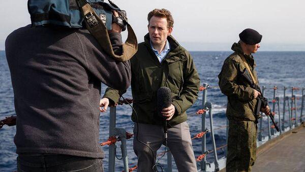 Zahraniční novináři navštívili loď Vojenského námořnictva Ruska v Sýrii - Sputnik Česká republika