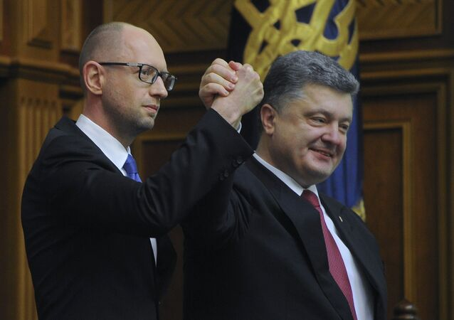 Ukrajinský prezident Petro Porošenko a ukrajinský premiér Arsenij Jaceňuk
