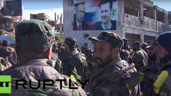 """Syrští vojáci skandovali """"Asad! Putin!"""" - Sputnik Česká republika"""