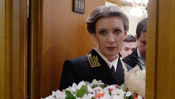 Официальный представитель МИД России Мария Захарова после брифинга по текущим вопросам внешней политики в Москве - Sputnik Česká republika