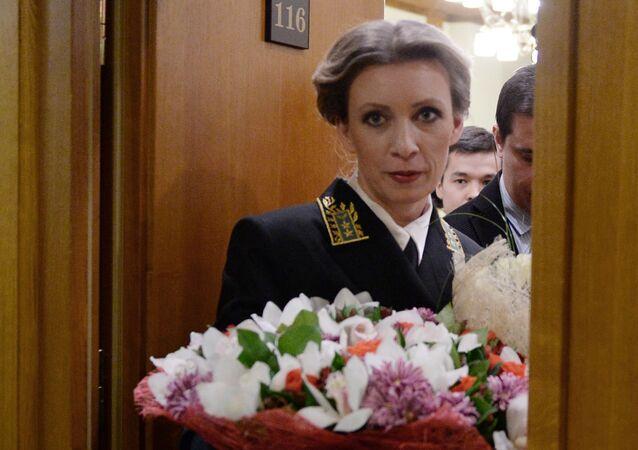 Официальный представитель МИД России Мария Захарова после брифинга по текущим вопросам внешней политики в Москве