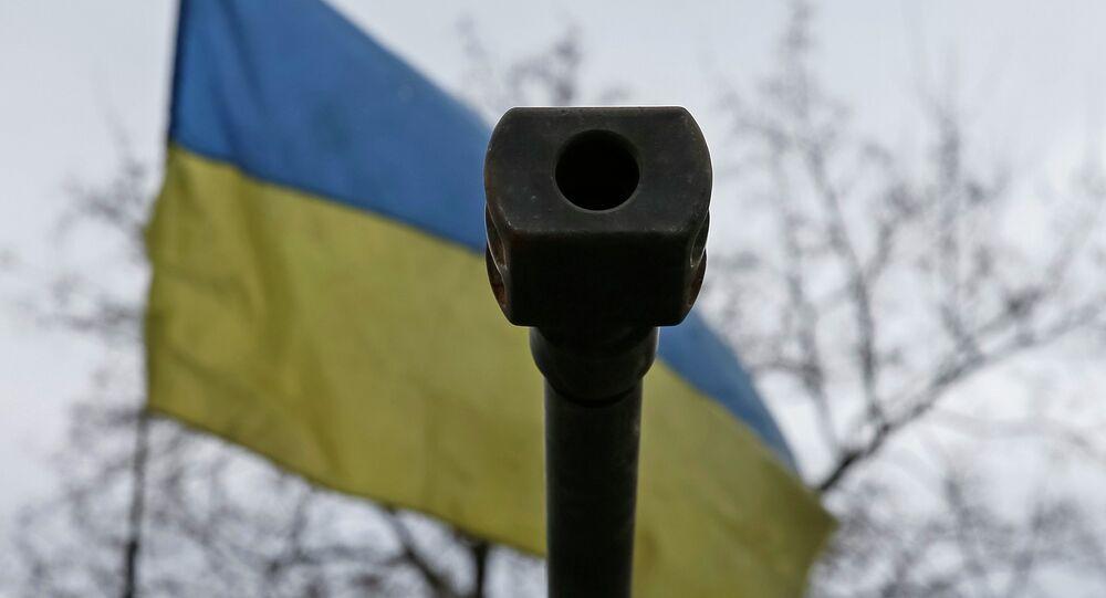 Ústí na pozadí ukrajinské vlajky