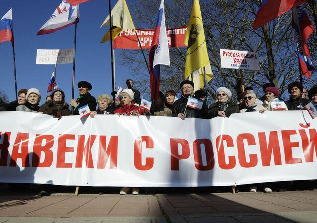 Obyvatelé Simferopolu slavili druhé výročí sjednocení Krymu s Ruskem