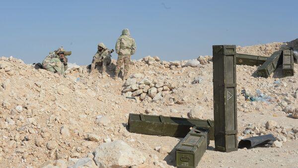 Bojovníci oddílu syrské domobrany Sokolové pouště poblíž Palmiry - Sputnik Česká republika