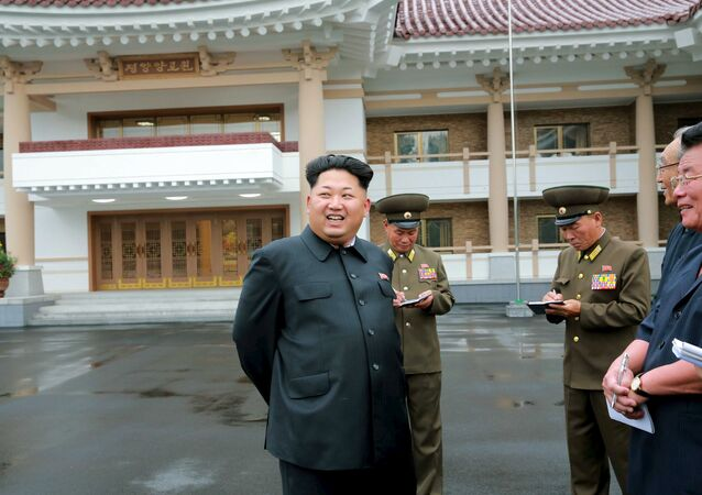 North Korean leader Kim Jong Un gives guidance during his visit to the newly-built Pyongyang Home for the Aged