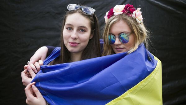 Ukrajinky během mítinku na podporu referendu o asociaci EU s Ukrajinou - Sputnik Česká republika