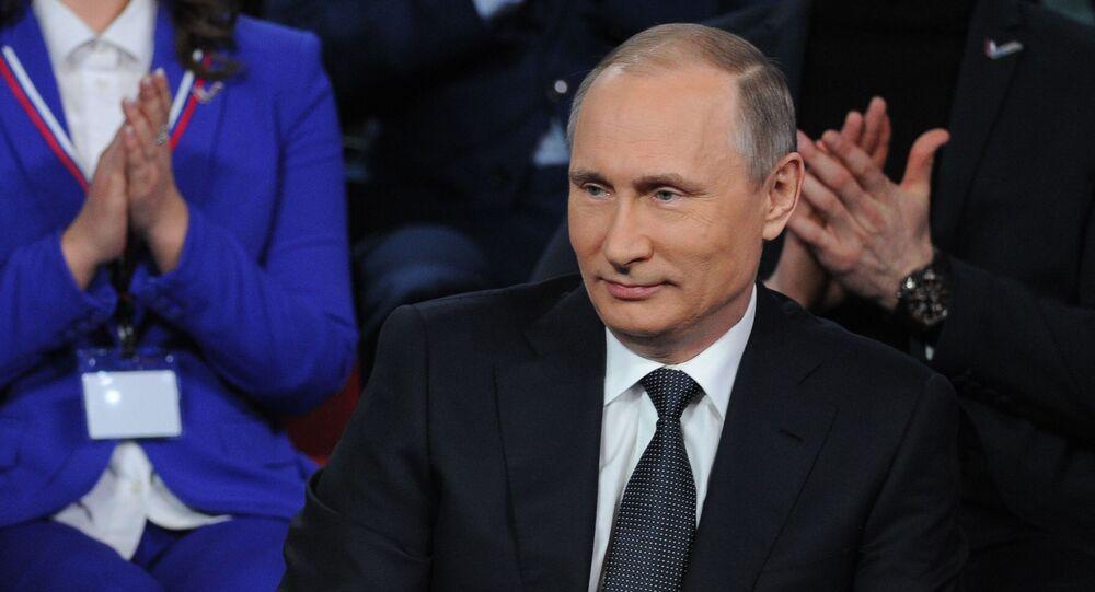 Ruský prezident Vladimir Putin na médiafóru v Petrohradě