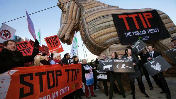 Demonstrace proti plánovanému Transatlantickému obchodnímu a investičnímu partnerství (TTIP) - Sputnik Česká republika