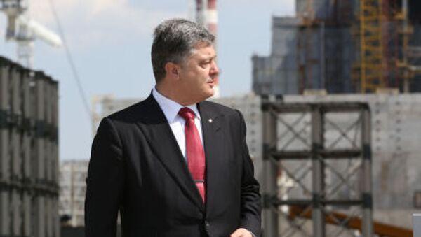 Ukrajinský prezident Petro Porošenko během návštěvy Černobylské jaderné elektrárny - Sputnik Česká republika