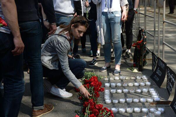 Akce k učtení památky obětí požáru v oděském Domě odborů - Sputnik Česká republika