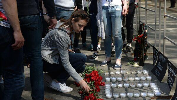 """Akce, která byla prováděna 2. května roku 2014 na Kulikově poli v Oděse aktivisty """"antimajdanu"""", skončila tragédií poté, co proti nim vystoupili radikálové extrémistického Pravého sektoru a fotbalový ultras - Sputnik Česká republika"""