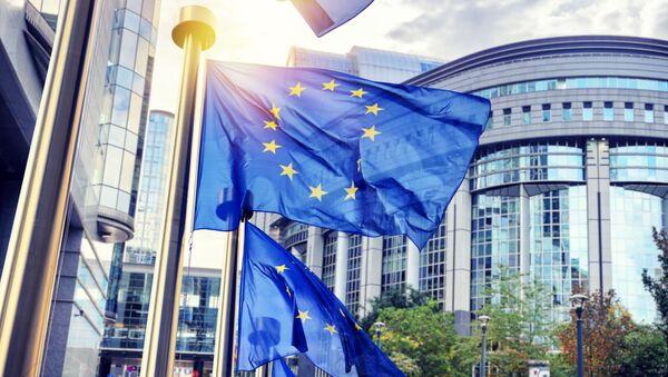 Vlajky EU před budovou EK v Bruselu - Sputnik Česká republika