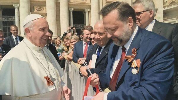 Papež František a poslanec Státní dumy z KS RF Pavel Dorochin - Sputnik Česká republika