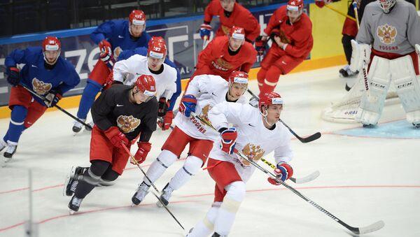 Cvičení ruského týmu vpředvečer MS v hokeji 2016 - Sputnik Česká republika