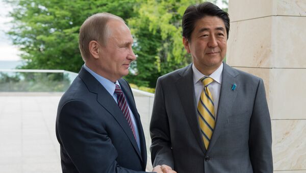 Schůzka ruského prezidenta Vladimira Putina s japonským premiérem Šinzó Abem - Sputnik Česká republika