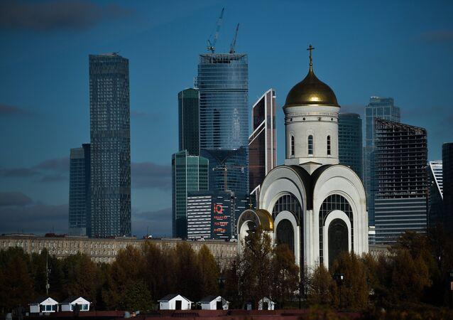 Park Vítězství a obchodní čtvrť Moskva-City