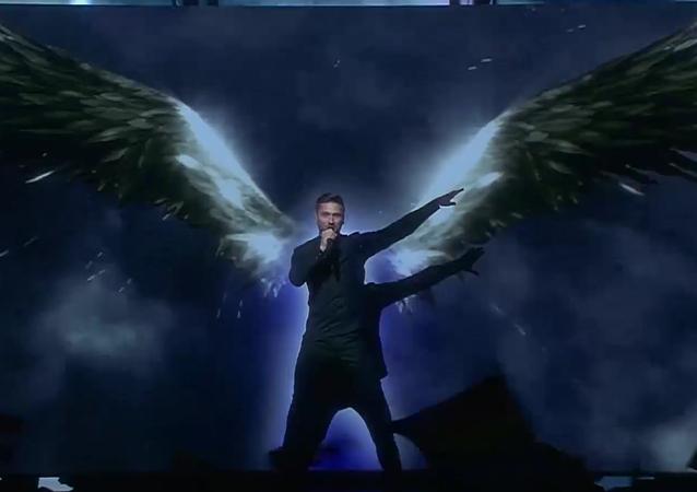 Sergej Lazarev během semifinále hudební soutěže Eurovize