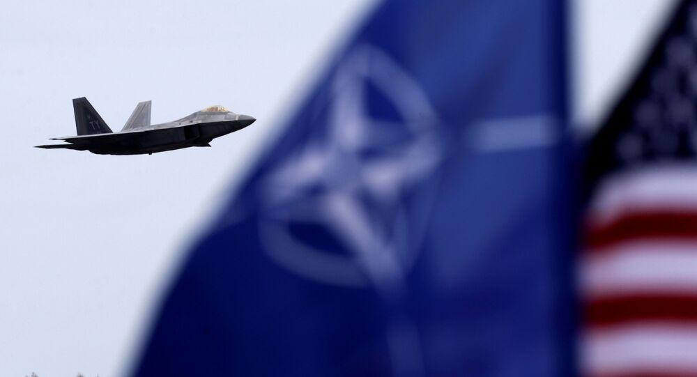 F-22 Raptor na pozadí vlajek USA a NATO