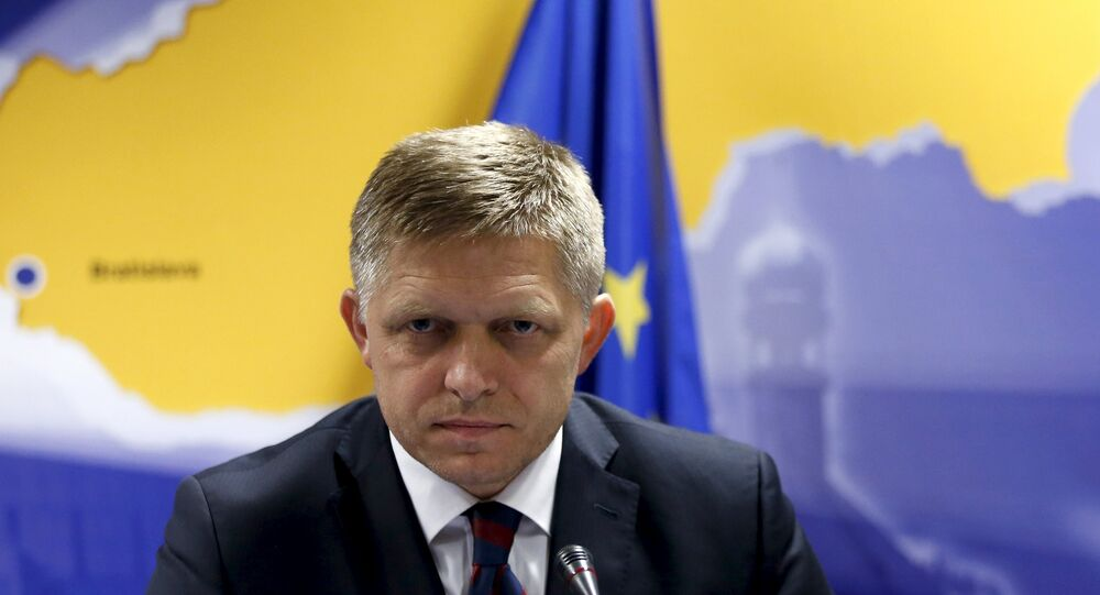 Slovakia's Prime Minister Robert Fico addresses a news conference after a European Union leaders extraordinary summit on the migrant crisis in Brussels