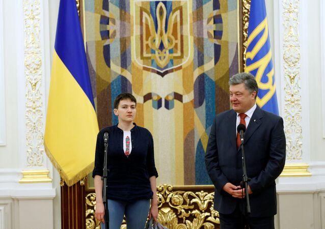 Naděžda Savčenková a Petro Porošenko
