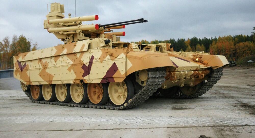Bitevní stroj podpory tanků Terminátor-2 na výstavě