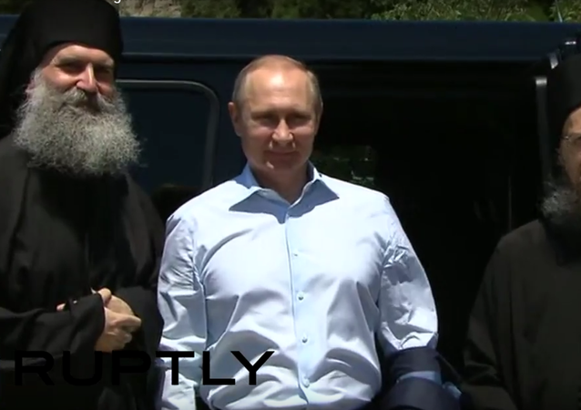 Putin na návštěvě na řeckém poloostrově Athos