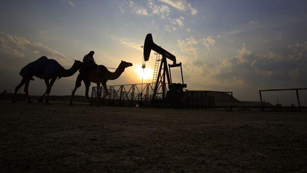 Muž projíždí v poušti na velbloudu okolo ropného vrtu v Sakhiru, Bahrain. - Sputnik Česká republika