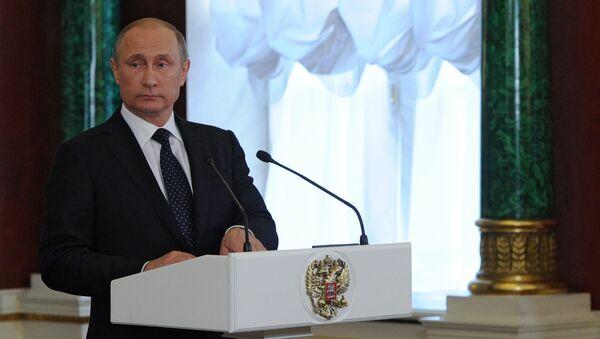 Vldimir Putin na tiskové konferenci o výsledcích jednání s premiérem Izraele Benjaminem Netanjahuem - Sputnik Česká republika